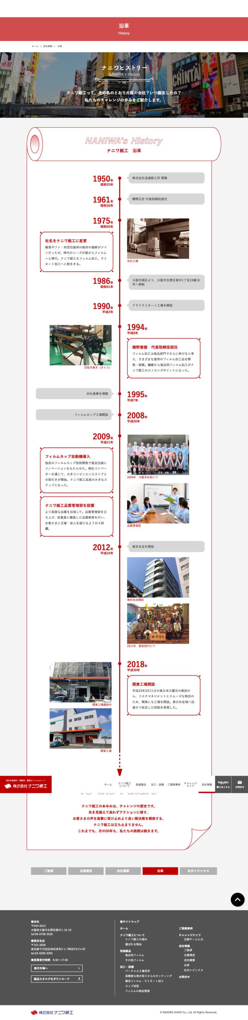 株式会社ナニワ紙工様コーポレートサイト「沿革」