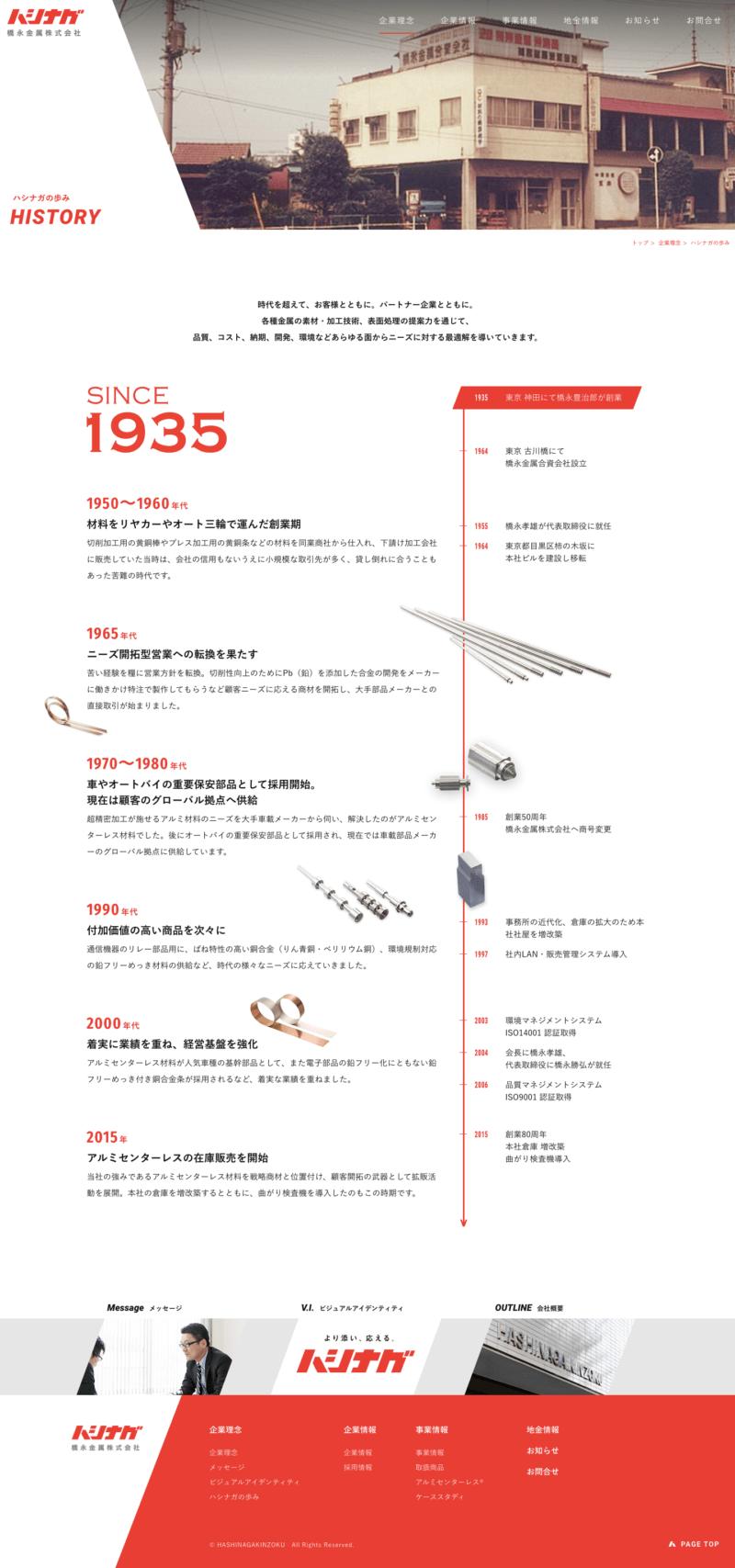 橋永金属株式会社様コーポレートサイト「History」ページ
