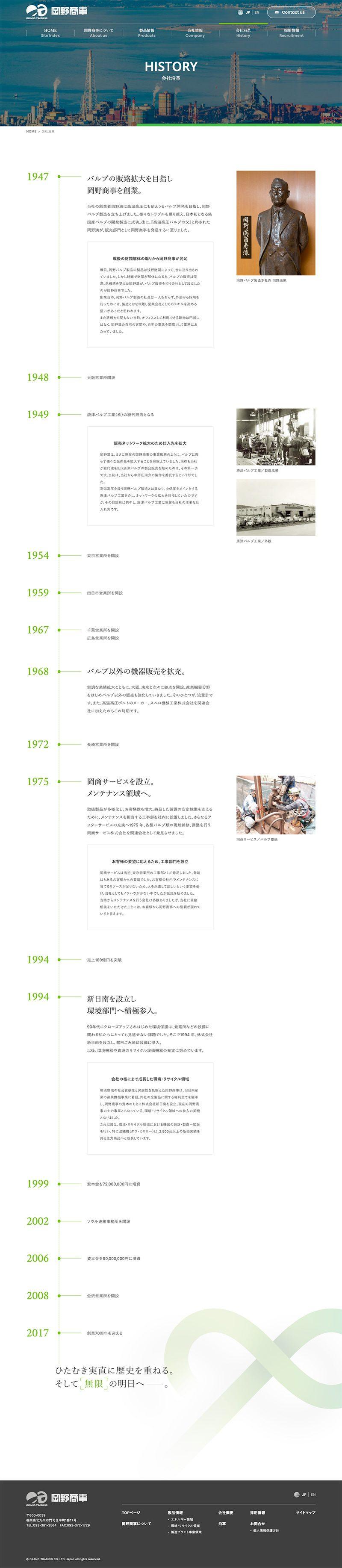岡野商事株式会社様 コーポレートサイト/企業ヒストリー