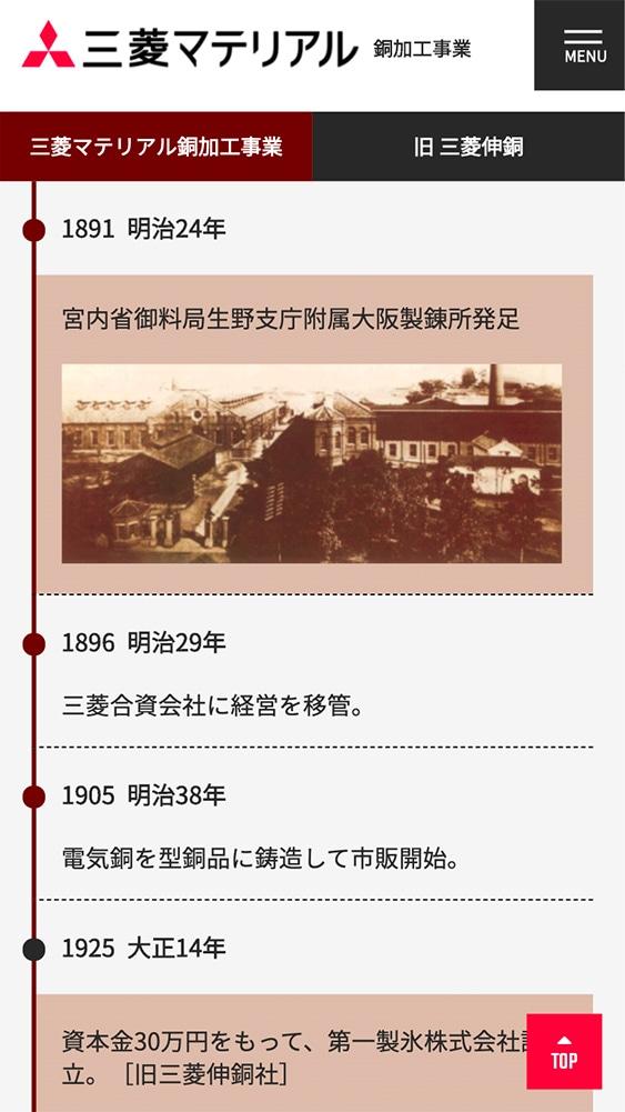 三菱マテリアル株式会社様|銅加工事業部サイトSP版/事業沿革